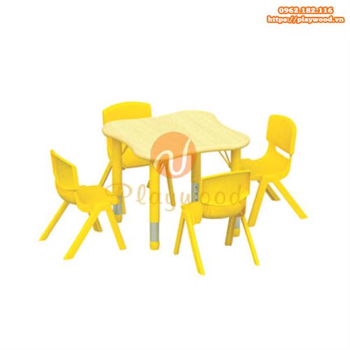 Bàn ghế gỗ chân nhựa cho bé mầm non PW-3321
