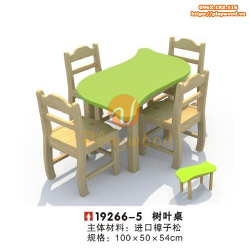 Bàn ghế gỗ cho bé mầm non 4 chỗ ngồi PW-3333