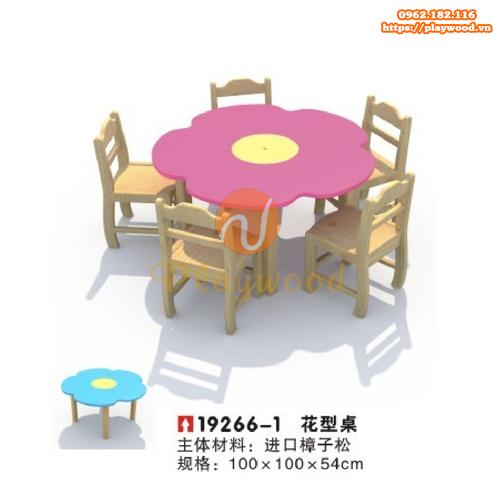 Bàn ghế gỗ hình bông hoa cho bé mầm non PW-3329