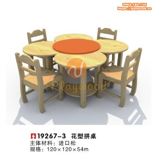 Bàn ghế gỗ hình bông hoa mầm non PW-3328