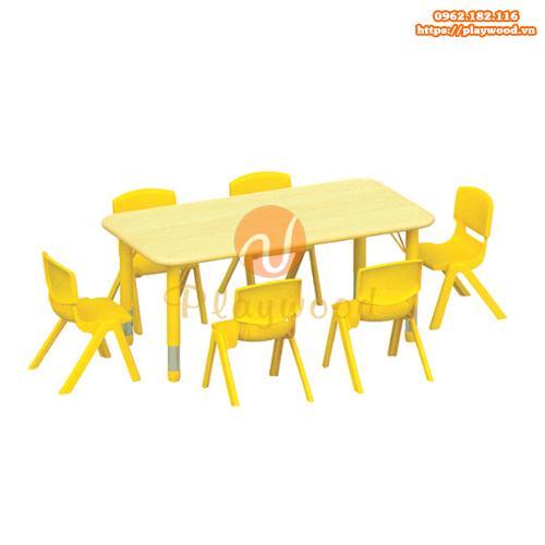 Bàn ghế gỗ hình chữ nhật chân nhựa PW-3322
