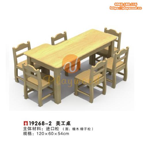 Bàn ghế gỗ hình chữ nhật cho bé mầm non PW-3326