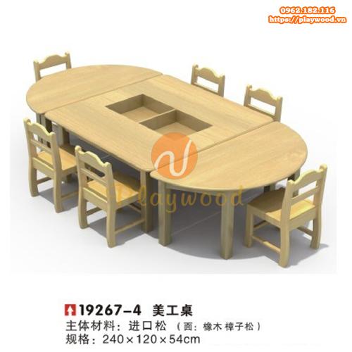 Bàn ghế gỗ hình elip 3 bàn mầm non PW-3324