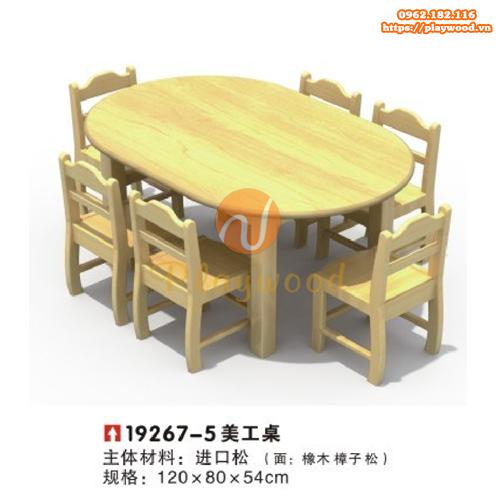 Bàn ghế gỗ hình elip cho bé mầm non PW-3323