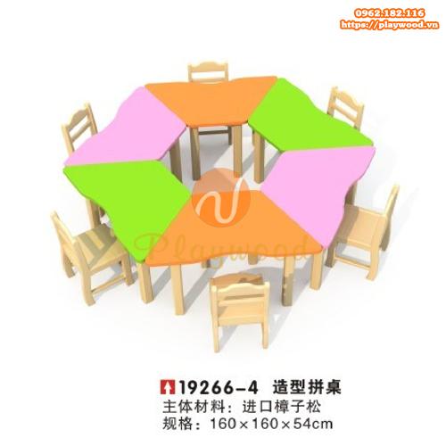 Bàn ghế gỗ hình lục giác cho bé mầm non PW-3332