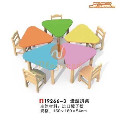 Bàn ghế gỗ hình tam giác 5 bàn mầm non PW-3331