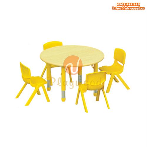 Bàn ghế gỗ hình tròn mầm non PW-3320