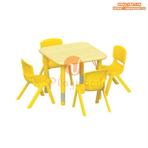 Bàn ghế gỗ hình vuống chân nhựa PW-3319