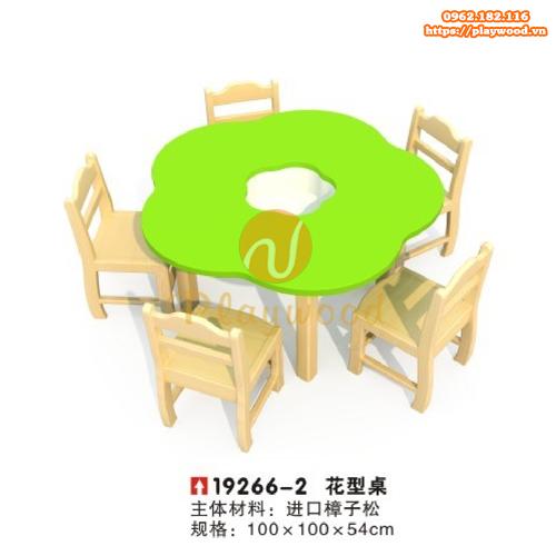 Bàn ghế gỗ mầm non hình bông hoa PW-3330