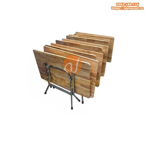 Bàn gỗ mầm non chân bằng inox PW-3300