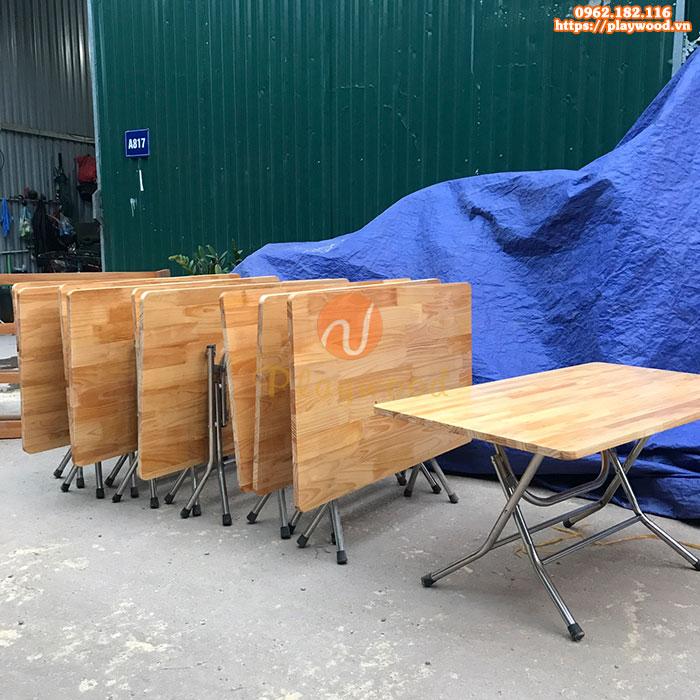 Bàn gỗ mầm non chân gấp bằng inox PW-3300