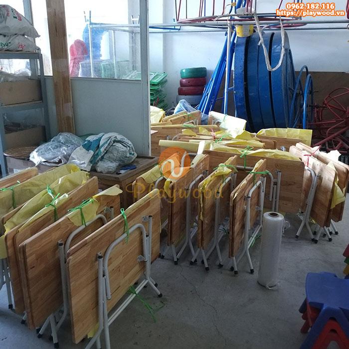 Bàn gỗ mầm non chân gấp bằng sắt PW-3301