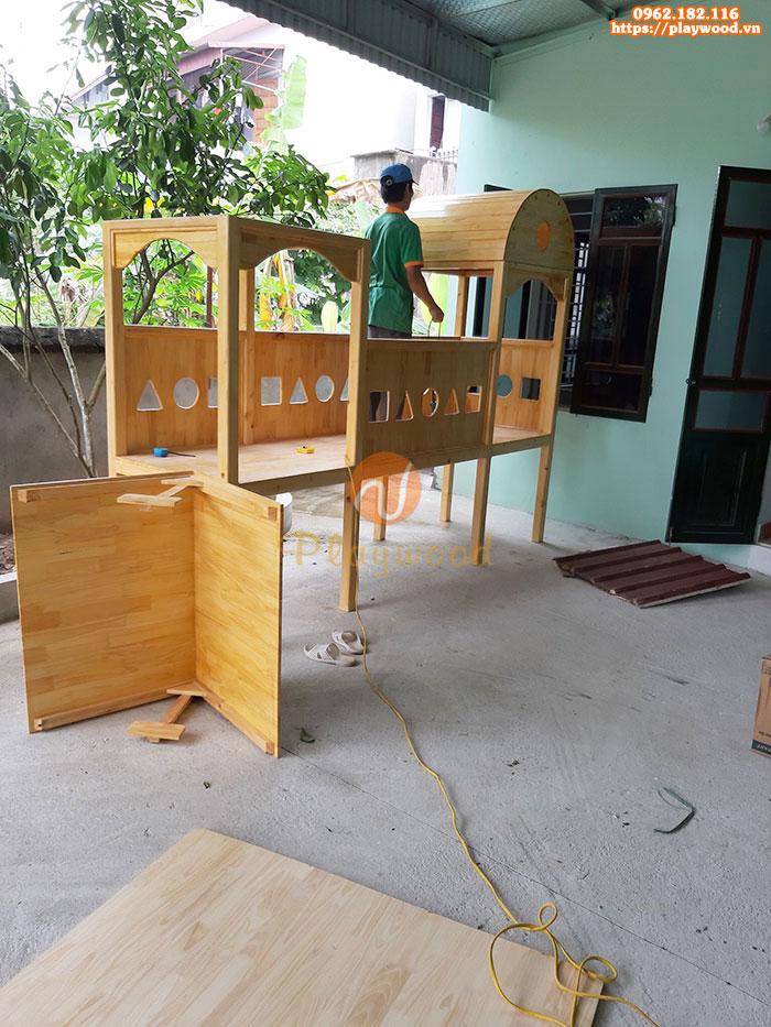 Bộ cầu trượt liên hoàn gỗ cho bé PW-1100-1