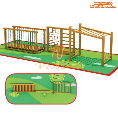 Bộ vận động thể chất gỗ ngoài trời trẻ em PW-2114