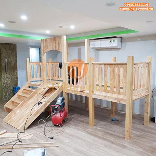 Cầu trượt liên hoàn bằng gỗ trong nhà cho bé PW-1110