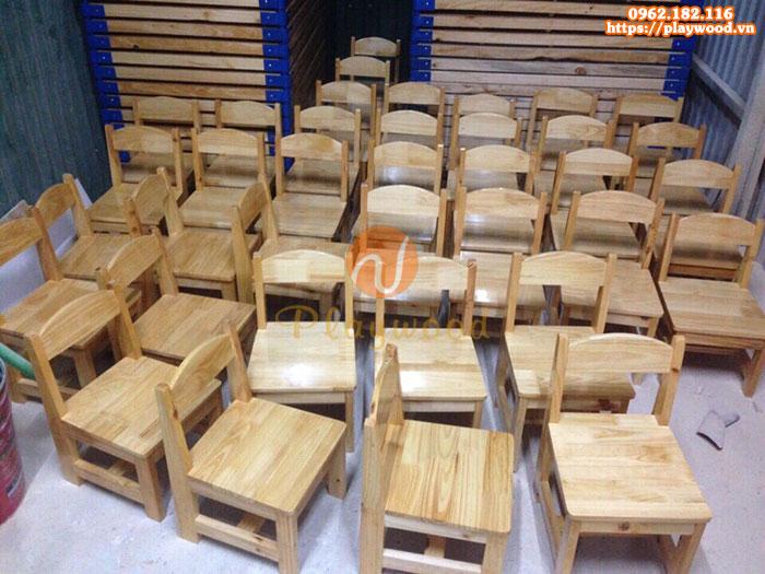Ghế gỗ mầm non chân có thanh ngang PW-3308