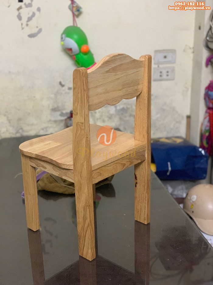 Ghế gỗ mầm non chân gỗ cao 28cm PW-3309