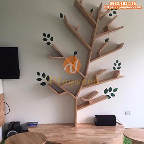 Kệ gỗ trang trí hình cây cho mầm non PW-3501