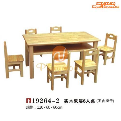 Mẫu bàn ghế gỗ 2 tầng cho bé mầm non PW-3327