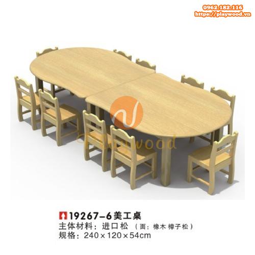 Mẫu bàn ghế gỗ hình elip 2 bàn cho bé PW-3325