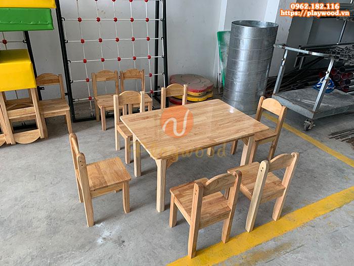 Mẫu bàn gỗ mầm non cho bé hình chữ nhật PW-3303