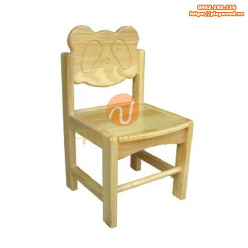 Mẫu ghế gỗ mầm non hình mặt gấu trúc PW-3313