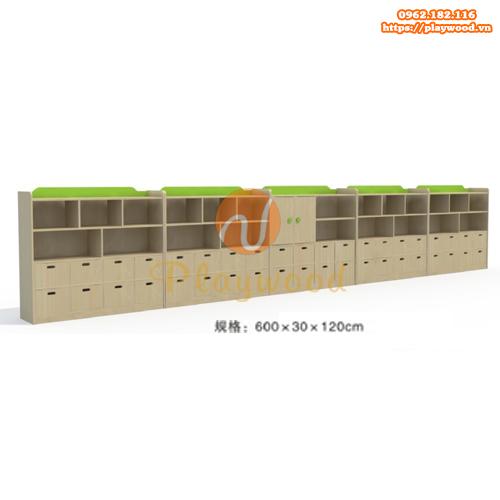 Mẫu tủ kệ để đồ mầm non 5 khối 4 tầng PW-1121