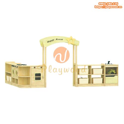 Mẫu tủ kệ gỗ nhà bếp mầm non PW-1101