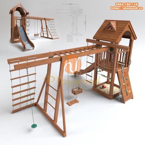 Nhà cầu trượt liên hoàn gỗ kèm bộ vận động PW-1542