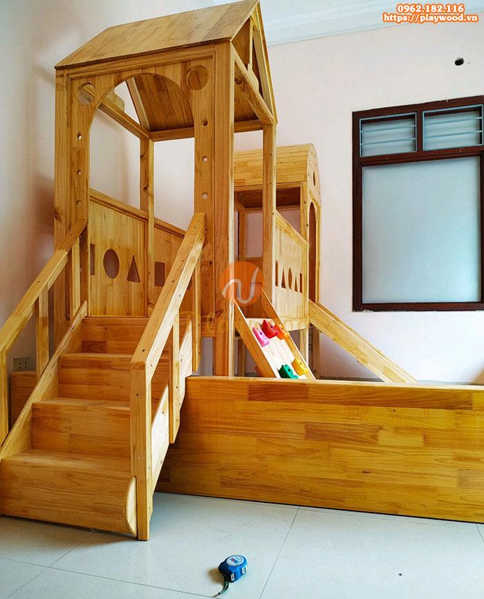 Nhà khối cầu trượt liên hoàn 2 khối bằng gỗ PW-1105-1