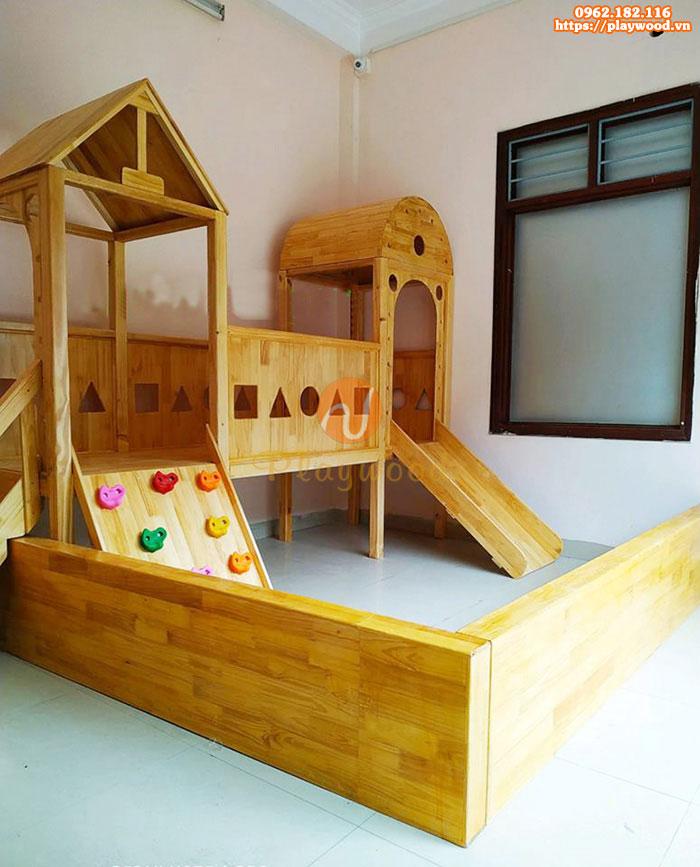 Nhà khối cầu trượt liên hoàn 2 khối bằng gỗ PW-1105-2