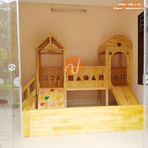 Nhà khối cầu trượt liên hoàn 2 khối bằng gỗ PW-1105