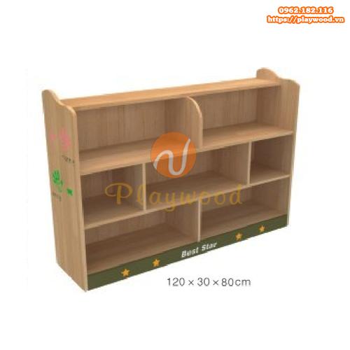 Tủ kệ montessori mầm non 3 tầng 7 ô PW-1118