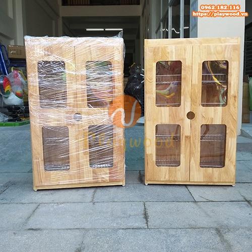 Tủ úp cốc ca khung gỗ cho trường mầm non PW-3154