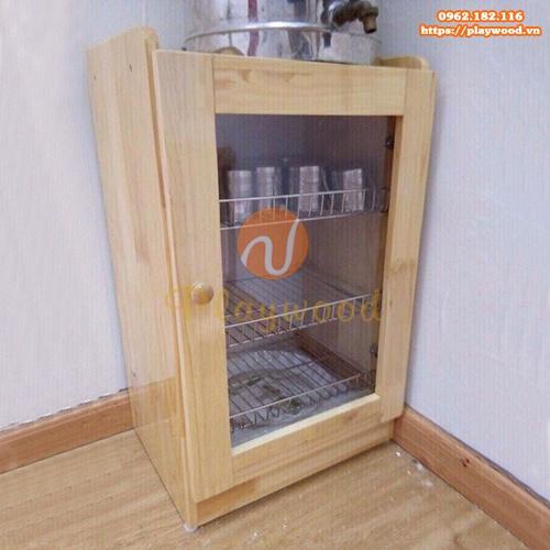 Tủ úp cốc ca khung gỗ mầm non 1 cánh PW-3155