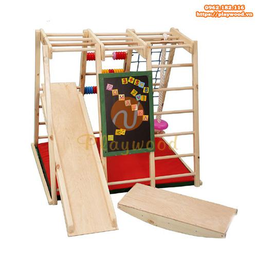 Bộ xà đu đa năng cho bé kèm cầu trượt bằng gỗ PW-2710