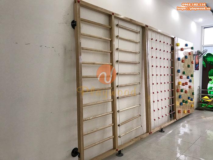 Lắp đặt vách leo núi bằng gỗ cho bé mầm non tại Bắc Giang-5