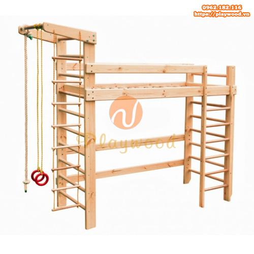 Mẫu thang leo xà đu bằng gỗ giá rẻ cho bé PW-2711