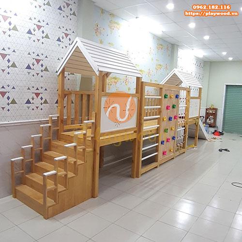 Nhà khối liên hoàn bằng gỗ cho trẻ mẫu giáo PW-1115