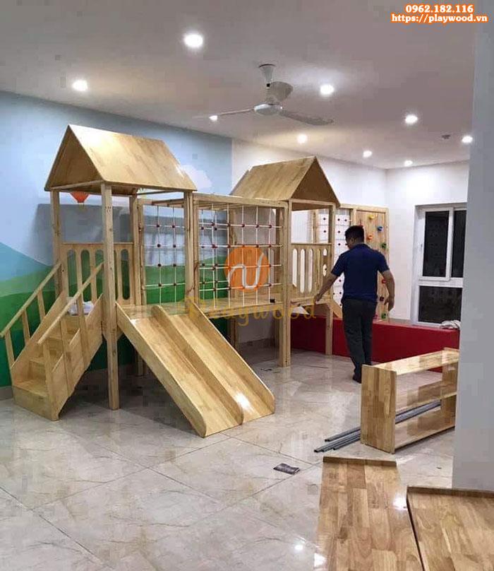 Nhà khối vận động liên hoàn bằng gỗ cho bé PW-1112