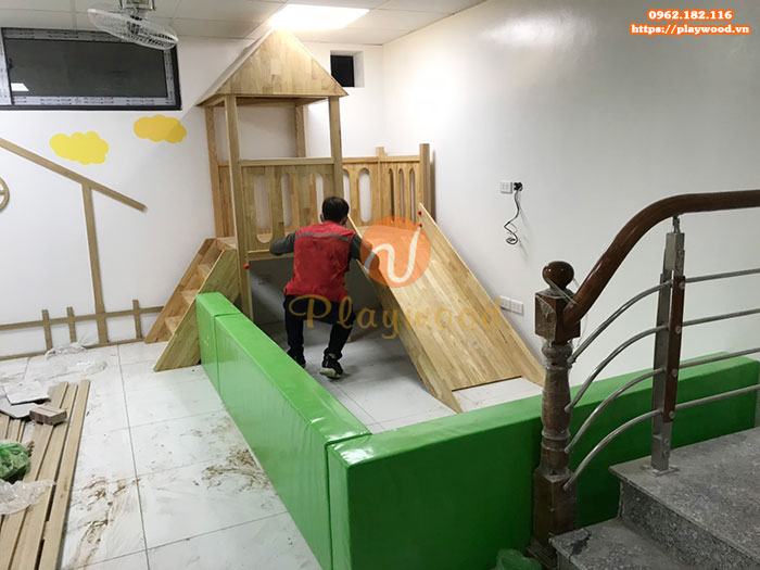 Sản xuất cầu trượt liên hoàn gỗ trong nhà cho khách tại Hà Nội-3