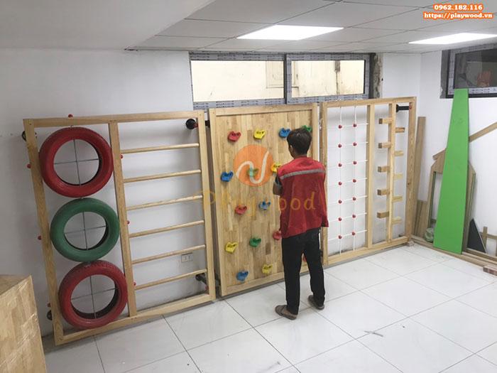 Sản xuất lắp đặt bộ leo núi gỗ đa năng cho bé tại Hà Nội-3