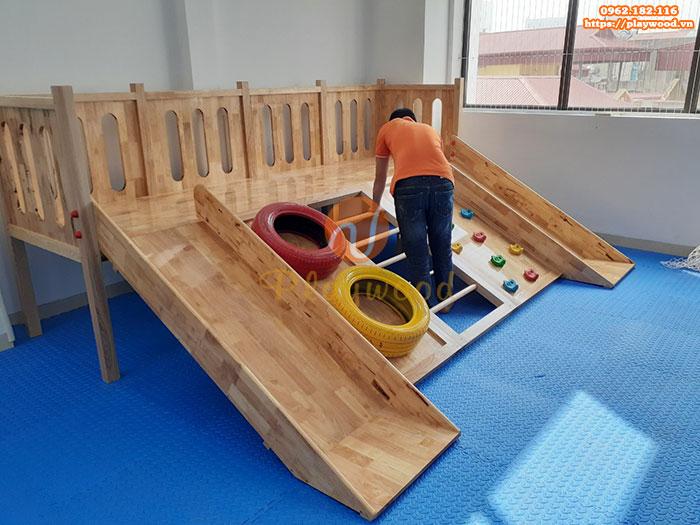 Sản xuất lắp đặt cầu trượt liên hoàn gỗ trong nhà cho khách tại Hà Nội-7