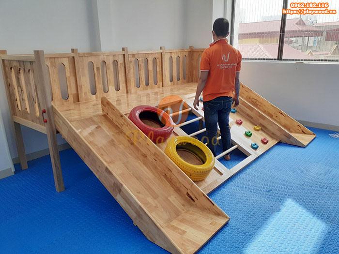 Sản xuất lắp đặt cầu trượt liên hoàn gỗ trong nhà cho khách tại Hà Nội-8