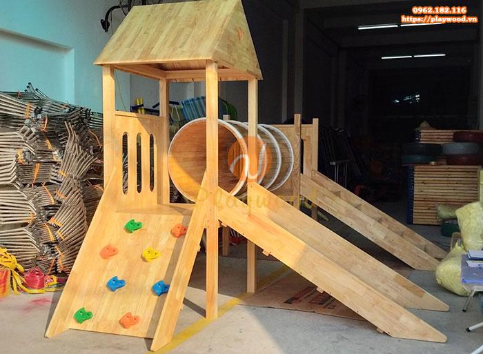Sản xuất nhà khối cầu trượt liên hoàn bằng gỗ tại Bắc Giang-1