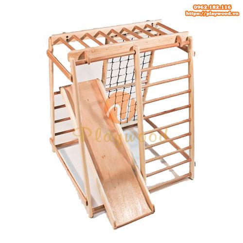 Thang leo xà đu kèm cầu trượt bằng gỗ PW-2706