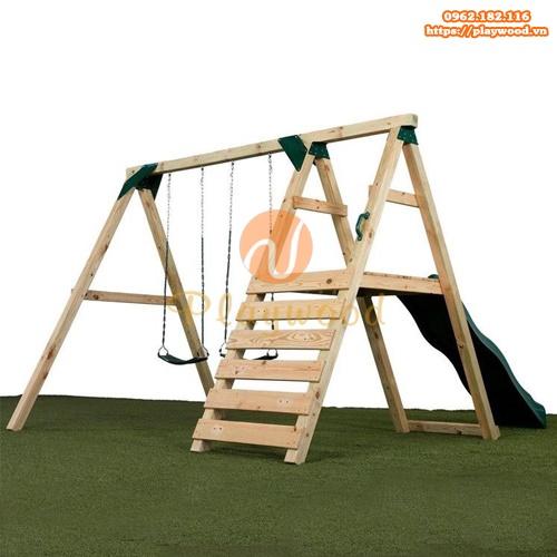 Xích đu gỗ 2 chỗ kèm thang leo cầu trượt PW-2308