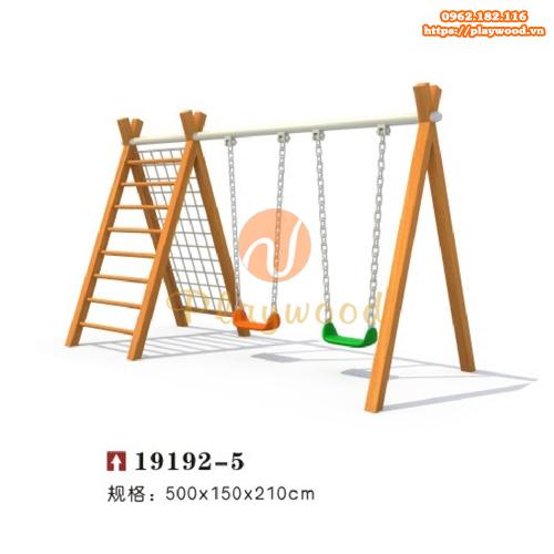 Xích đu gỗ 2 chỗ kèm thang leo, leo dây PW-2304