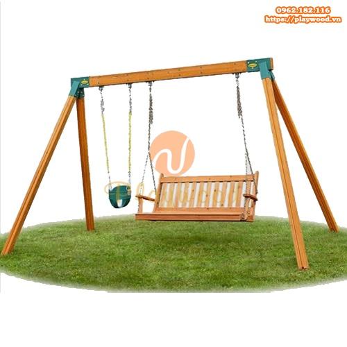Xích đu gỗ 2 ghế ngoài trời trẻ em PW-2302