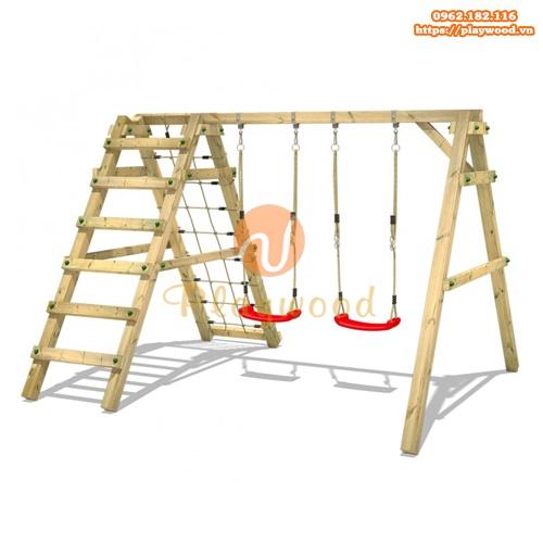 Xích đu gỗ cho bé 2 chỗ kèm thang leo dây PW-2305-1
